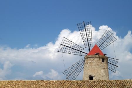old Italy ,Sicily, windmill near Trapani-city Stock Photo - 15969598