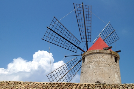 solidify: old Italy ,Sicily, windmill near Trapani-city Stock Photo