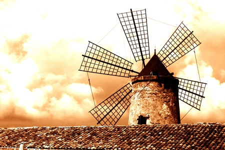 old Italy ,Sicily, windmill near Trapani-city Stock Photo - 15981868