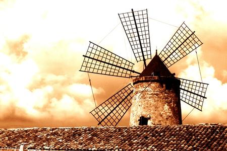 old Italy ,Sicily, windmill near Trapani-city Stock Photo - 15981868