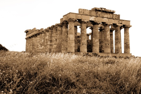 solidify: old Italy, Greek temple in Selinute, Sicily