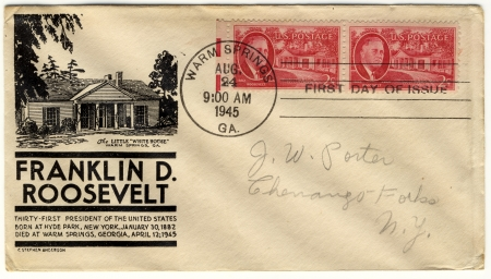 vintage envelope with 32s president of USA  - Franklin D Roosevelt Stock Photo - 15986730