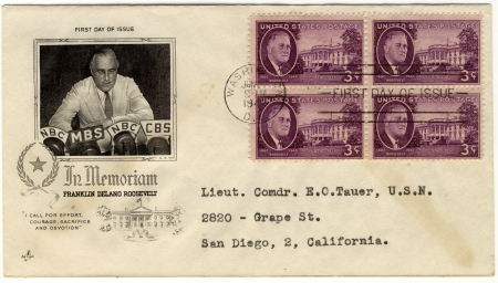 vintage envelope with 32s president of USA  - Franklin D Roosevelt Stock Photo - 15986729