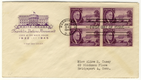 vintage envelope with 32s president of USA  - Franklin D Roosevelt Stock Photo - 15986720
