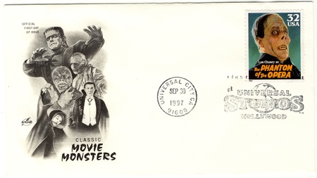 lon: USA envelope, memory of classic movie monsters, Lon Chaney as The Phantom of The Opera Editorial