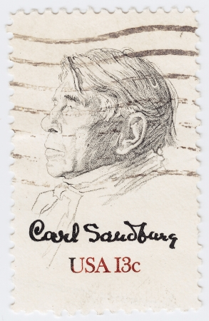 UNITED STATES OF AMERICA - CIRCA 1978   stamp printed in the USA shows Picture of Carl Sandburg, circa 1978 Stock Photo - 16042840