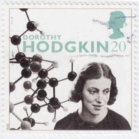 credited: UK - CIRCA 1996   stamp printed in UK shows Dorothy Hodgkin Crowfoot, was a British chemist, credited with the development of protein crystallography, circa 1996