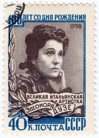 USSR - CIRCA 1958   stamp printed in USSR show Eleonora Duse italian actress, circa 1958