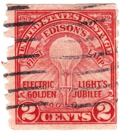 USA - CIRCA 1929   stamp printed in USA Celebrates 50th anniversary of Thomas Edison Stock Photo - 16053058