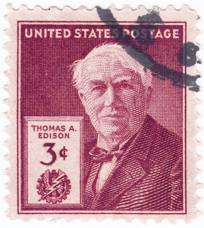 edison: USA - CIRCA 1985   stamp printed in USA shows Thomas Edison - American inventor, scientist and businessman, circa 1985 Editorial