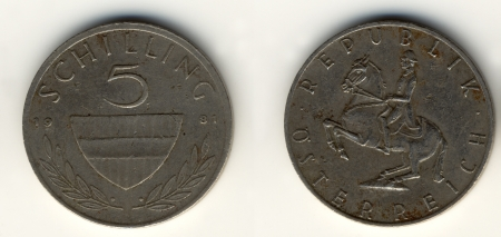 Old Austrian coins 5 shilling photo