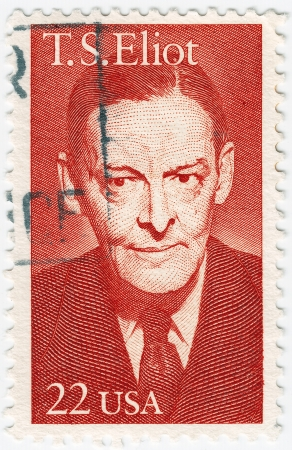 critic: USA - CIRCA 1986 : stamp printed in the USA show Thomas Stearns Eliot was an American-born English poet, playwright and literary critic, circa 1986