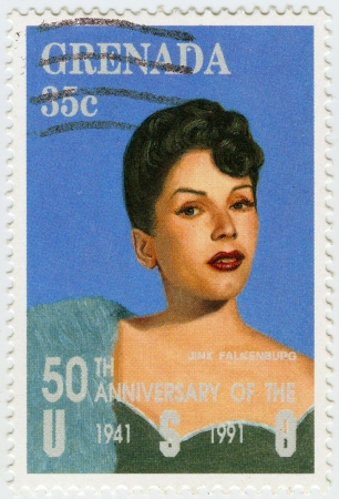 GRENADA - CIRCA 1991 : stamp printed in Grenada shows Eugenia Lincoln Falkenburg have a nicknamed Jinx - American model and actress, circa 1991 Stock Photo - 16127658