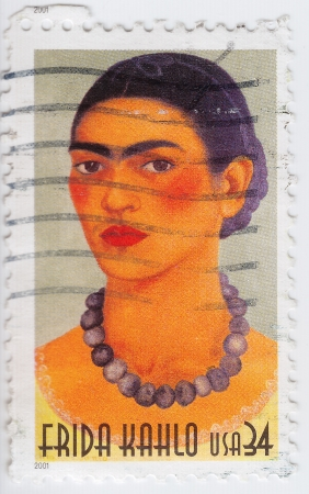 USA - CIRCA 2001 : stamp printed in USA show great Mexican painter Frida Kahlo, circa 2001