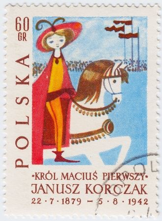 famous writer: POLAND - CIRCA 1952 : Stamp printed in Poland picture from tale of Janusz Korczak Polish-Jewish childrens author, circa 1952   Stock Photo