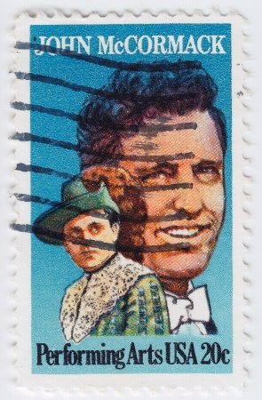 USA - CIRCA 1984 : stamp printed in the USA shows of John McCormack world-famous Irish tenor singer, circa 1984 Stock Photo - 16127656