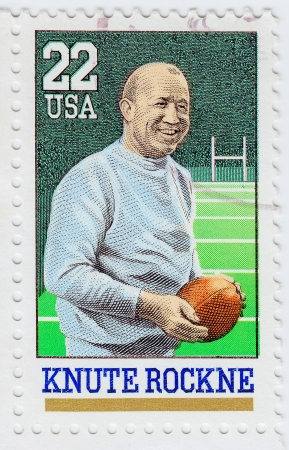 USA - CIRCA 1988: stamp printed in the USA shows Knute Rockne American football player and coach, circa 1988