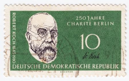 discoverer: ALEMANIA - CIRCA 1950: sello impreso en Alemania muestra el Robert Koch, descubridor del bacilo de la tuberculosis, circa 1950