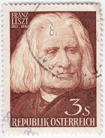 AUSTRIA - CIRCA 1961 : stamp printed in Austria shows famous composer Franz Liszt, circa 1961 Stock Photo - 16127659