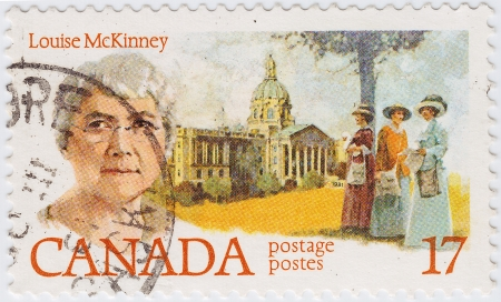 louise: �ANADA - CIRCA 1981 : stamp printed in Canada shows Louise McKinney is an  Canadian Womans rights activist, circa 1981 Editorial
