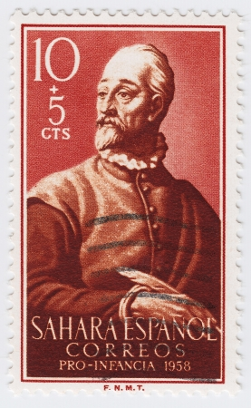 SAHARA colony of Spain  - CIRCA 1958 : stamp printed in Sahara then colony of Spanish shows Miguel de Cervantes Spanish novelist, poet and playwright, circa 1958 Stock Photo - 16127657
