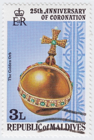 the majesty: MALDIVES - CIRCA 1978 : stamp printed in Maldives shows The Golden Orb, dedicated to 25th anniversary of the coronation of Her Majesty Queen Elizabeth II, circa 1978 Stock Photo