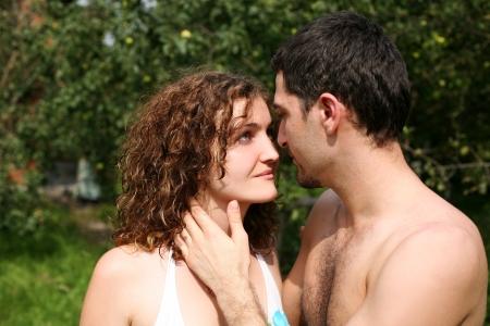 romantic couple outdoors photo
