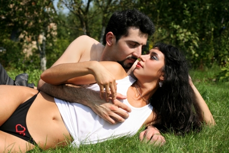 romantic couple outdoors, summer photo
