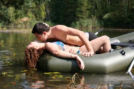 hot boy: couple in boat