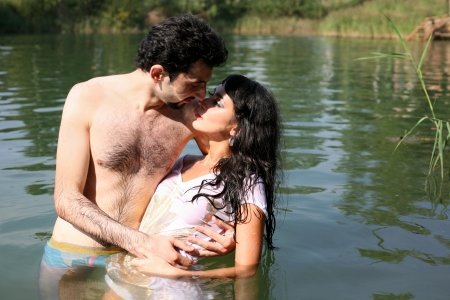 couple in water photo