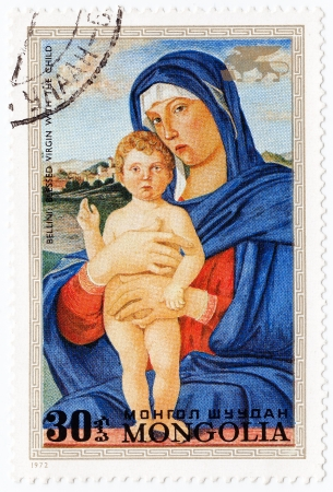 MONGOLIA - CIRCA 1972: stamp printed in Mongolia shows picture Blessed Virgin with the child by painter Bellini, circa 1972 Stock Photo - 16134707