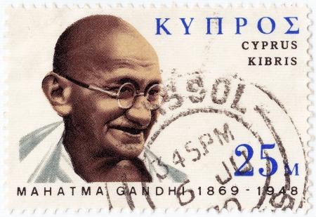 indian postal stamp: CYPRUS - CIRCA 1978 : postage stamp printed in Cyprus showing Mohandas Karamchand Gandhi, circa 1978