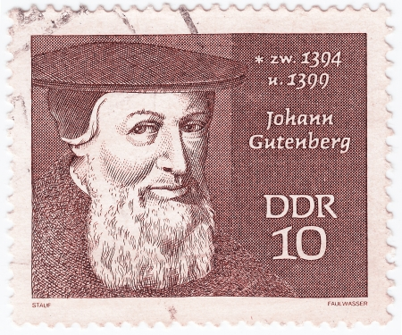GERMANY - CIRCA 1970: stamp printed in Germany shows Johann Gutenberg, circa 1970