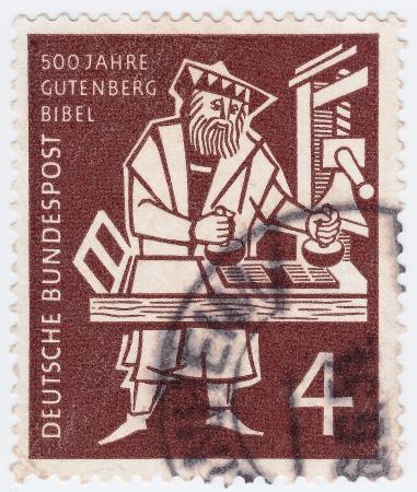 gutenberg: GERMANY - CIRCA 1970: stamp printed in Germany shows Johann Gutenberg, circa 1970