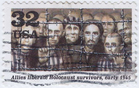 holocaust: USA - CIRCA 1995 : stamp printed in USA shows Allies liberate Holocaust survivors, early 1945, circa 1995
