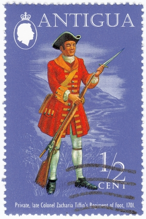 united states postal service: ANTIGUA - CIRCA 1999 : stamp printed in Antigua shows Private, Late Colonel Zacharia Tiffins  Regiment of Foot, 1701 , circa 1999