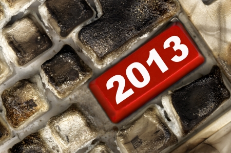 burned keyboard with red button Stock Photo - 16134737