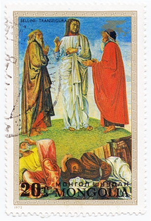 bellini: MONGOLIA - CIRCA 1972 : stamp printed in Mongolia shows pic Transfiguration by painter Bellini, circa 1972 Stock Photo