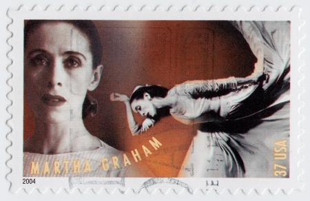 martha: USA - CIRCA 2004 : stamp printed in USA shows Martha Graham was an American dancer choreographer, circa 2004 Editorial