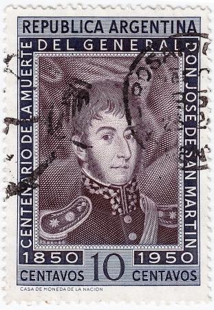 jose de san martin: ARGENTINA - CIRCA 1950 : A stamp printed in Argentina shows Jose de San Martin, circa 1950  Editorial