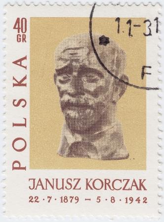 POLOGNE - CIRCA 1952: timbre imprimé en Pologne image du conte de l'auteur Janusz Korczak polono-juives enfants, vers 1952 Banque d'images - 16232855