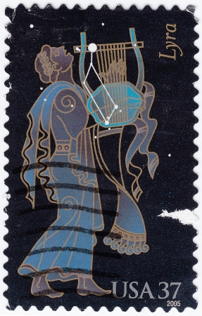 usps: USA - CIRCA 2005 : stamp printed in USA shows symbol of Constellation Lyra, circa 2005