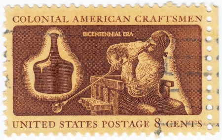 glassblower: USA - CIRCA 1972: stamp printed in USA shows a colonial hatter, such as Zadock Benedict of Danbury, Connecticut, forming felt made from beaver fur into a hat, circa 1972
