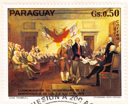 PARAGUAY - CIRCA 1976: stamp printed in Paraguay shows American revolution bicentennial, circa 1976 Stock Photo - 16240048