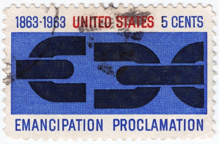 proclamation: USA - CIRCA 1963 : post stamp printed in USA shows Emancipation Proclamation, circa 1963