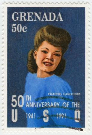 GRENADA - CIRCA 1991 : stamp printed in Grenada shows Julia Frances Langford American singer, actress and entertainer, circa 1991 Stock Photo - 16232883