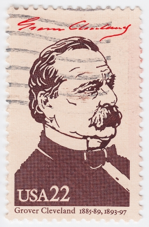 united states postal service: USA - CIRCA 1986 : stamp printed in the USA shows Grover Cleveland, circa 1986