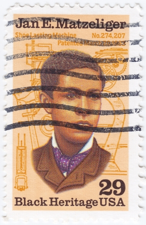 USA - CIRCA 2000 : stamp printed in USA shows Jan Ernst Matzeliger African-American inventor in the shoe industry, circa 2000 Stock Photo - 16232872