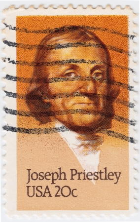 theologian: USA - CIRCA 1983 : stamp printed in USA show shows Joseph Priestly English theologian, circa 1983