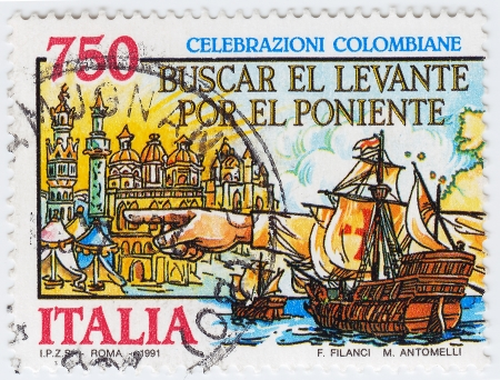 ITALY - CIRCA 1991: stamp printed in Italy show of the discovery of America of Christopher Columbus, circa 1991 Stock Photo - 16238253